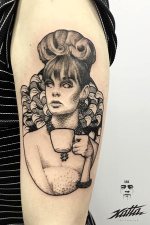 Retro portrait #retro #tattoo #graphictattoo #dotworktattoo #portrait