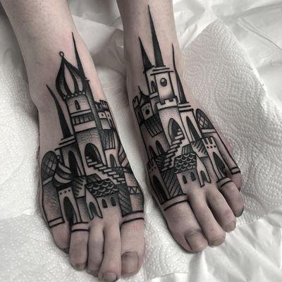 Tattoo by Heidi Furey #HeidiFurey #Awesometattoos #besttattoos #tattoodoapp #appartists #trendingtattoos #toptattoos #tattoodoappartists #blackwork #castle #buildings #architecture