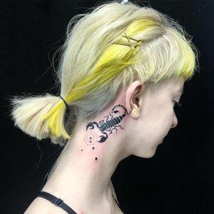 Tattoo by Emily Malice #EmilyMalice #Awesometattoos #besttattoos #tattoodoapp #appartists #trendingtattoos #toptattoos #tattoodoappartists #blackwork #scorpion #scorpio #zodiac