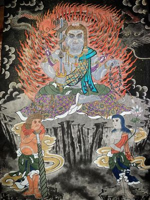 swipe👉→ finished Fudo Sanzon on traditional Japanese handmade paper Asagami. paint by Sumi for black, color by mineral power pigment Iwa Enogu. 不動三尊 ・ ・ ・ Fudo is one of the Myoo from Mikkyo, when Dainichi Nyorai( the truth of the universe into a Buddha's shape) educated people, Dainichi Nyorai can not educate in usual form, so Dainichi appeare with anger form(Fudo). Fudo living in a Kashou Zamai, burning injuries and various injuries inside and outside, destroy all devils and enemies, guard the examinees, and fulfill the Bosatsu. #kurosumi #kurosumiink #kurosumitattooink @kurosumitattooink ・ ・ APPOINTMENT VIA E-MAIL kensho@japantattoo.net ・ ・ ・ ・ ・ ・ #drawing #tattoodrawing #tebori #handpoke #irezumi #horimono #wabori #japantattoo #japanesetattoo #japaneseirezumi #traditionaltattoo #ink #inked #fudomyooart #tattooart #tattoolife #tattooideas #tattooculture #tattoosketch #fudomyoo #ドローイング #刺青 #タトゥー #irezumi_sketches #irezumicollective
