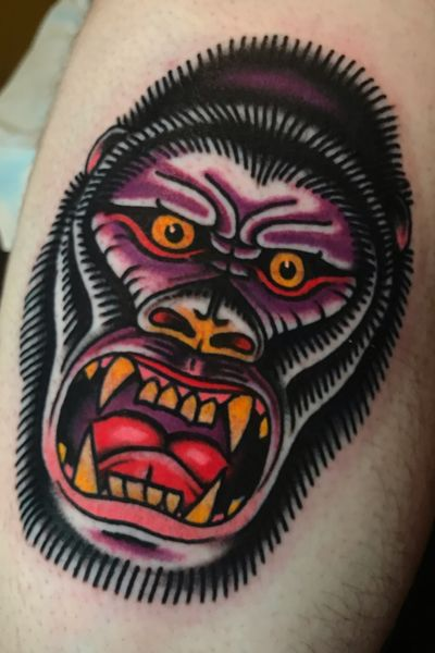 #gorilla made at Hot stuff tattoo, Asheville NC. Email chuckdtats@gmail.com for appointment info. #traditional #traditionaltattoo