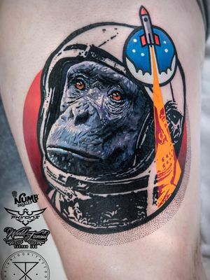 Tattoo by Chris Rigoni #ChrisRigoni #Awesometattoos #besttattoos #tattoodoapp #appartists #trendingtattoos #toptattoos #tattoodoappartists #realism #realistic #abstract #spaceship #astronaut #monkey #chimpanzee