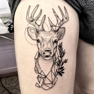 #deer#animal#black#blackwork#ink#linework#geometric#graphic#tattooartist