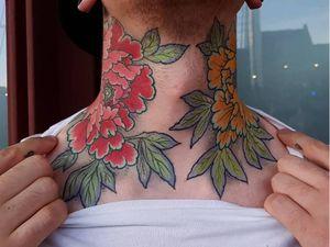 Tattoo by Elliott J Wells #ElliottJWells #ElliottWells #necktattoos #necktattoo #neck #jobstopper #peony #flower #floral #leaves #nature #plant