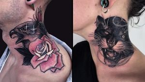 Tattoo on the left by Igor Puente and tattoo on the right by Antony Flemming #IgorPuente #AntonyFlemming #necktattoos #necktattoo #neck #jobstopper