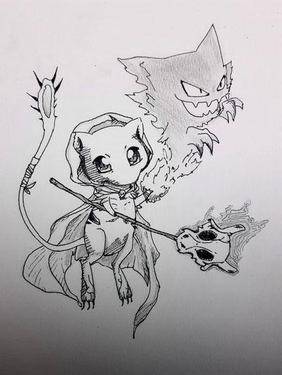 Mew necromancer made by me #drawing #sketch #pokemon #pokemontattoo #linework #anime #necromancer