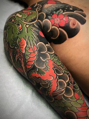 Dragon.  Done @oldsalttattoostudio #japanesetattoo #japanesestyle #tattoo #japaneseink #nctattooers #dragon