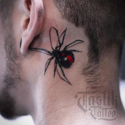 Tattoo by Fran Tastik Tattoo #FranTastikTattoo #necktattoos #necktattoo #neck #jobstopper #spider #blackwidow #realism #realistic #darkart