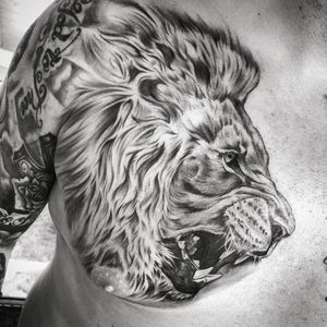 Lion tattoo i did for an old friend #lion #blackandgrey
