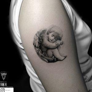 Angel #tattoo #tattooartist #tattooart #tattoodo #tattooed #angeltattoo #angel #blackandgreytattoo #blackandgrey #dotworktattoos #realismo #realistic #realism #realistictattoos #realistictattoo #vietnamesetattoo #vietnamesetattooartis #vietnamink #trungvu #tvinkster #killerink #killersilverink #killersilver #tats #minitats #angelminitattoo