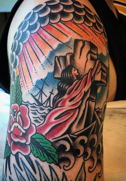 Rock of ages #traditionalamerican #classictattoos #rockofages #oldschooltattoo