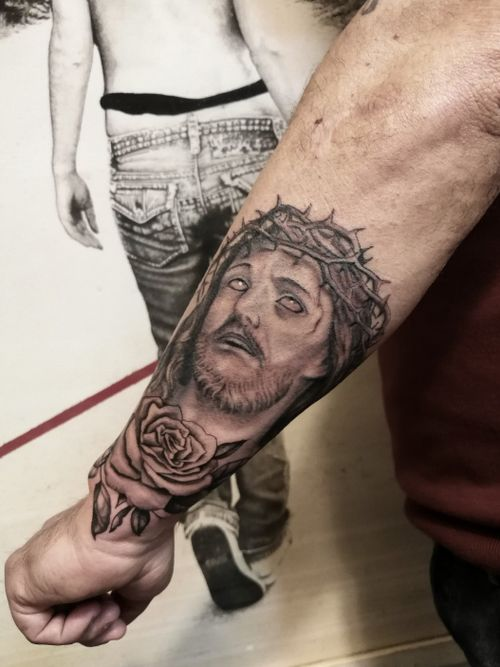 Christ black and gray tattoo