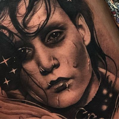 Tattoo by Teneile Napoli #TeneileNapoli #blackandgreyrealism #blackandgrey #realism #realistic #hyperrealism #timburton #johnnydepp #edwardscissorhands #portrait