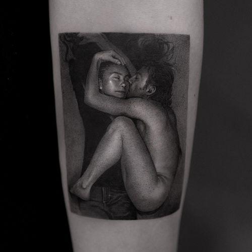 Tattoo by ColdGray #ColdGray #blackandgreyrealism #blackandgrey #realism #realistic #hyperrealism #yokoono #johnlennon #thebeatles #portrait #music #rockandroll #couple #love