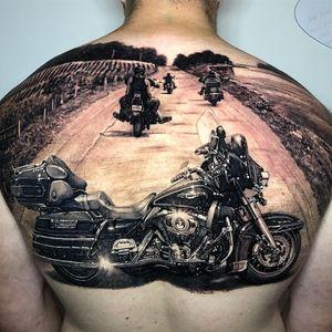 Tattoo by Steve Butcher #SteveButcher #blackandgreyrealism #blackandgrey #realism #realistic #hyperrealism #motorcycle #landscape #machine #travel #metal #chrome #wheel #gears