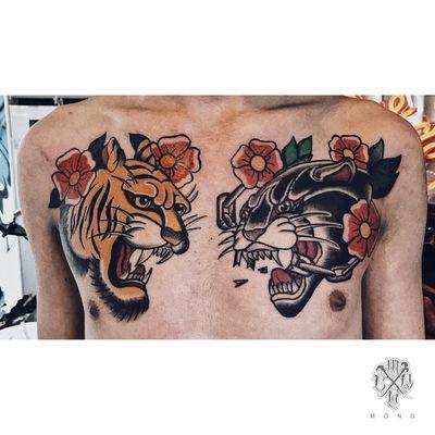 o l d s c h o o l #oldschool #oldschooltattoo #tattooartist #tattooart #tiger #leopard #chesttattoo