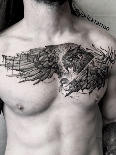Tag some who loves owls! Email yoricktattoo@gmail.com for appointment. First session on Ethan's chest. We spent the whole day listening to tribal, Viking music. What kind of music do you guys want to hear today ? I love making contrast between beauty and darkness in my art. - #owl #owltattoo #chesttattoo #allblackeverything #animals #animaltattoo #boyswithlonghair #dallastattoo #drawing #drawingoftheday #fashionmen #fitnessmodels #freehandtattoo #lifegoals #menwithtattoos