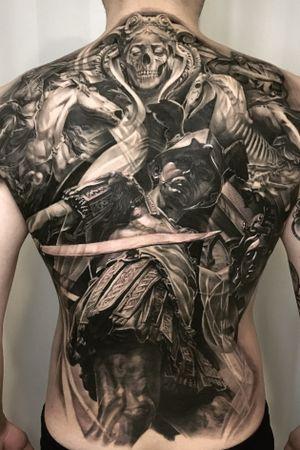Perseus black and gray chicano blackwork korean medusa statue realism