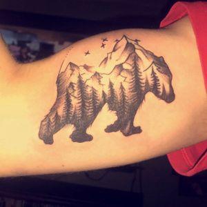 Tattoo from Roger Ledford aka Kentucky @ Premier tattoo studio in westland #bear #tree #forest #bicep #biceptattoo #blackandgrey