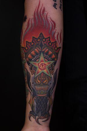 #tattoo#newtraditional #newschool #newtattoo #torch #torchtattoo #firetattoo #fire