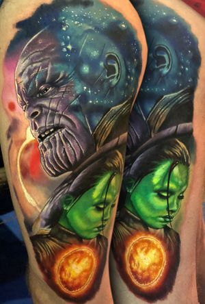 Big #Thanos piece done over 2 days at the #montreuxtattooconvention #marvel