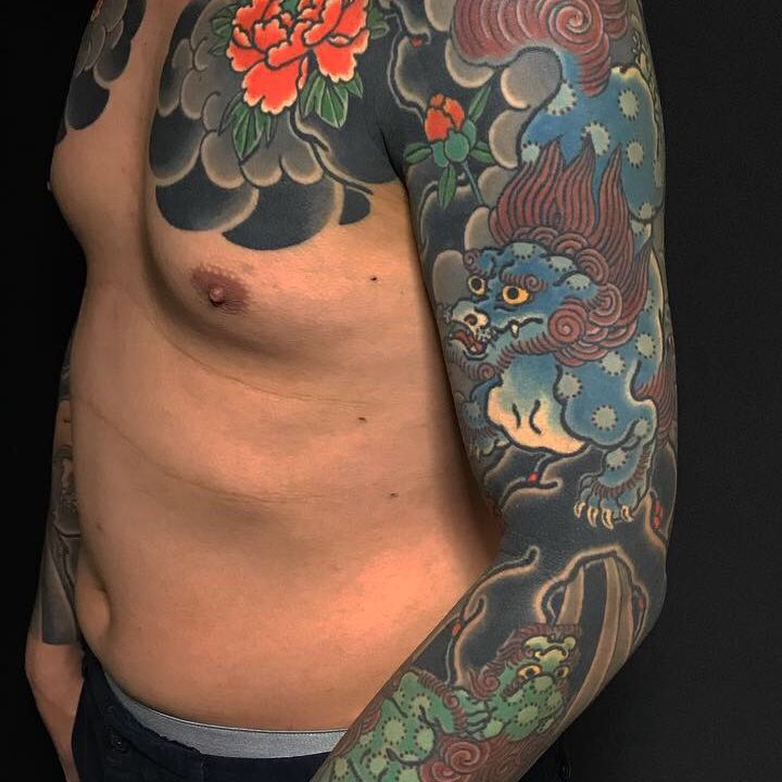 Karajishi botan (foo dog and peonies )full sleeve soth chest panel healed 唐獅子牡丹