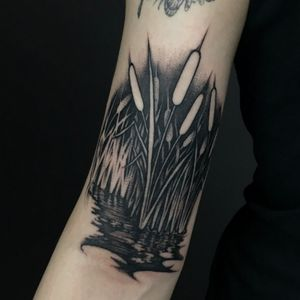 1st work in Toronto, Cattails in spooky swamp for J**** #customtattoo #guestspot #toronto #canada #tattoo #tattoodesign #art #tattooer #tattooist #paixletattooer #berlin #berlintattooers #blackwork #blacktattoo #blackouttattoo #botanicaltattoo #cattail #swamp #cattailtattoo #video #details