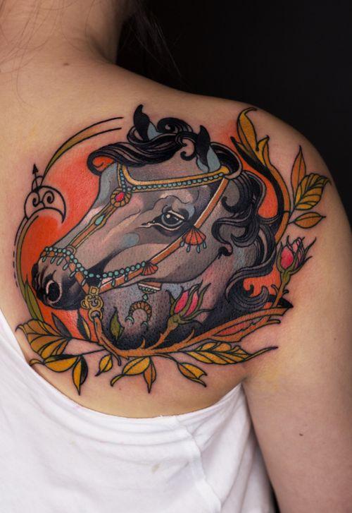 #newtraditional #newschool #tattoo#horse