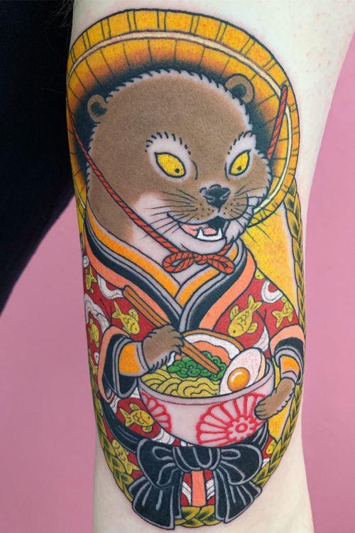 Tattoo by Wendy Pham #WendyPham #otter #noodles #ramen #food