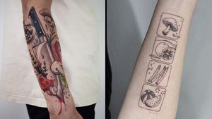 Tattoo on the left by Kati Berinkey and tattoo on the right by Be.tattoo #betattoo #KatiBerinkey #foodtattoos #foodtattoo #food #nutrition #cheftattoo