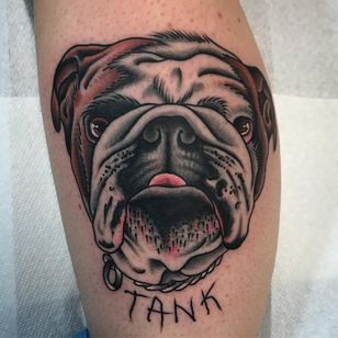 Tattoo by Kyle Hath #KyleHath #dogtattoos #dogtattoo #pup #petportrait #puppy #animal #nature #mansbestfriend #tank #color #traditional #bulldog