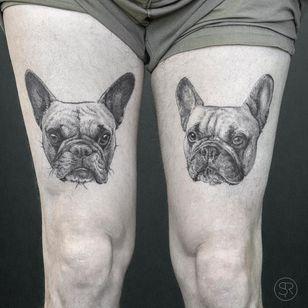 Tattoo by Sven Rayen #SvenRayen #dogtattoos #dogtattoo #pup #petportrait #puppy #animal #nature #mansbestfriend #frenchie #frenchbulldog #illustrative #blackandgrey #realistic #realism