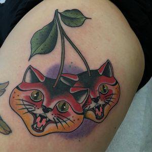 Tattoo by Jody Dawber #JodyDawber #foodtattoos #foodtattoo #food #nutrition #cheftattoo #cattattoo #cats #kitty #cherry #cherries #fruit