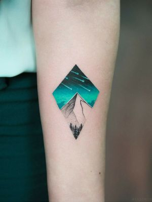 By #evgenymel #shootingstar #starfall #mountain #forest  #turquoise