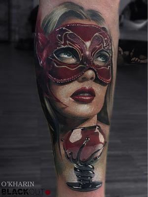 Tattoo by Sasha O'Kharin #SashaOKharin #venetianmask #venetianmasktattoo #mardigras #carnival #brazil #neworleans #italy #2019 #masktattoo #mask #color