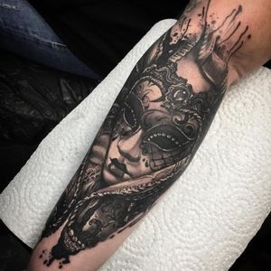 Tattoo by Kevin Saxler #KevinSaxler #venetianmask #venetianmasktattoo #mardigras #carnival #brazil #neworleans #italy #2019 #masktattoo #mask #blackandgrey