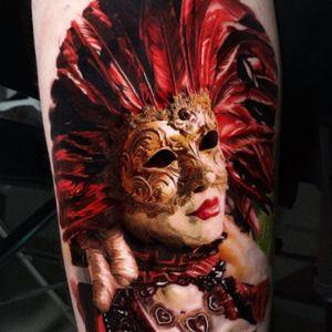 Tattoo by Kevin Giangualano #KevinGiangualano #venetianmask #venetianmasktattoo #mardigras #carnival #brazil #neworleans #italy #2019 #masktattoo #mask #color