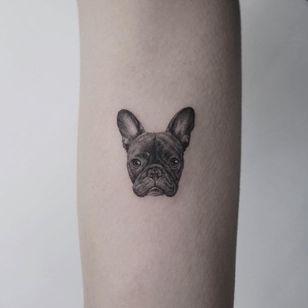 Tattoo by Youyeon #Youyeon #dogtattoos #dogtattoo #pup #petportrait #puppy #animal #nature #mansbestfriend #frenchie #frenchbulldog #illustrative #blackandgrey #realistic #realism