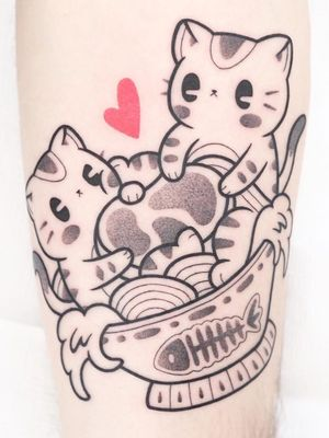Tattoo by Hugocide #Hugocide #foodtattoos #foodtattoo #food #nutrition #cheftattoo #blackandgrey #cat #kitty #cute #ramen #pho #fish #noodles #meat #soup #heart #manga #anime