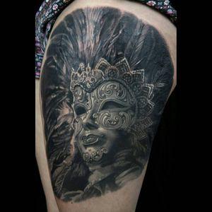 Tattoo by Sam Stokes #SamStokes #venetianmask #venetianmasktattoo #mardigras #carnival #brazil #neworleans #italy #2019 #masktattoo #mask #blackandgrey