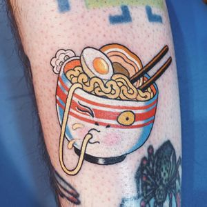 Tattoo by Wendy Pham #WendyPham #foodtattoos #foodtattoo #food #nutrition #cheftattoo #ramen #noodles #soup #egg #chopsticks #Japanese #yokai #bowl