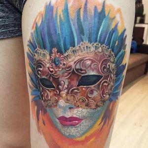 Tattoo by Alex Petcu #AlexPetcu #venetianmask #venetianmasktattoo #mardigras #carnival #brazil #neworleans #italy #2019 #masktattoo #mask #color