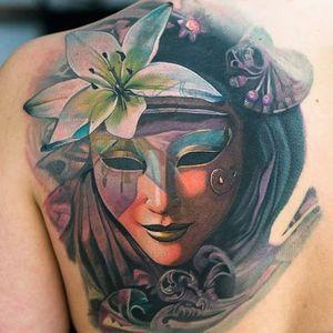 Tattoo by Al Minz #AlMinz #venetianmask #venetianmasktattoo #mardigras #carnival #brazil #neworleans #italy #2019 #masktattoo #mask #color