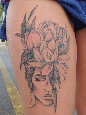 Lady face and flowers #blackworktattoo