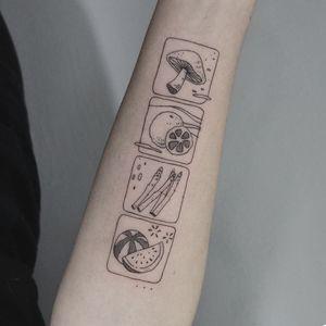 Tattoo by be.tattoo #betattoo #foodtattoos #foodtattoo #food #nutrition #cheftattoo #linework #illustrative #mushroom #orange #asparagus #watermelon #melon #fruit #vegetables