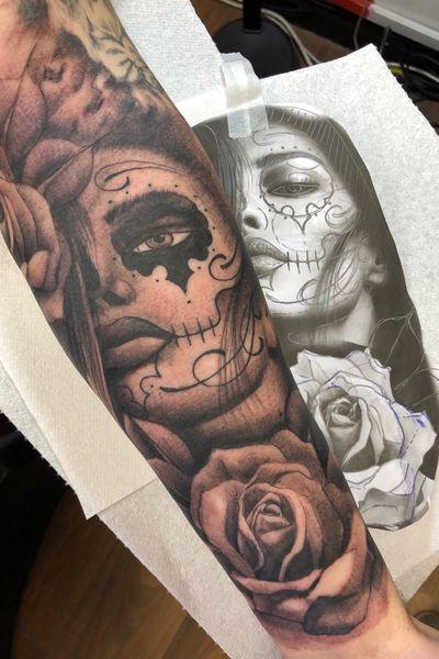 Todays efforts #blackandgrey #dayofthedead #dayofthedeadtattoo #TattooSleeve #tattooartist