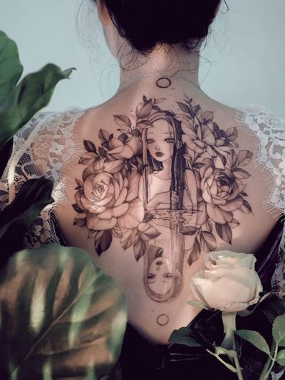 Tattoo collab by Zihae and Zihwa #zihwa #Zihae #ladyheadtattoos #ladyheadtattoo #ladyhead #lady #portrait #woman #beauty #illustrative #rose #flower #floral #reflection #water #moon