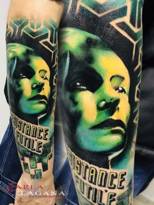 Queen Borg from Star Treck on outer forearm