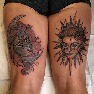 Tattoo by Jody Dawber #JodyDawber #ladyheadtattoos #ladyheadtattoo #ladyhead #lady #portrait #woman #beauty #color #neotraditional #moon #star #sun
