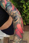 #healed #skull #rose #bird #neotraditional #tattooartist #sleeve #nature #floral